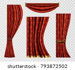 set of realistic curtains with...