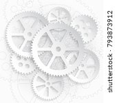 drawing gears on a white... | Shutterstock .eps vector #793873912