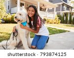 portrait of girl with dog on...   Shutterstock . vector #793874125