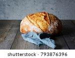 fresh homemade bread on a gray...   Shutterstock . vector #793876396