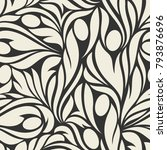 seamless pattern with floral... | Shutterstock .eps vector #793876696