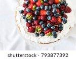 beautiful  fruit naked cake... | Shutterstock . vector #793877392