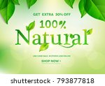 100  natural lettering on... | Shutterstock .eps vector #793877818