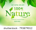 100  nature lettering on... | Shutterstock .eps vector #793879012