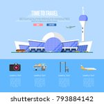 time to travel banner with... | Shutterstock .eps vector #793884142