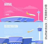 airplane arrival and airport... | Shutterstock .eps vector #793884148