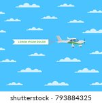 screw aircraft with banner in...   Shutterstock .eps vector #793884325