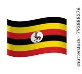 uganda flag waving form on gray ... | Shutterstock .eps vector #793888276