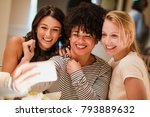 Three Women Are Taking A Selfi...