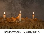 burning candles on melted wax... | Shutterstock . vector #793891816