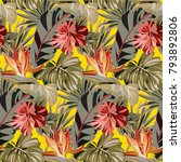seamless yellow pattern with... | Shutterstock .eps vector #793892806