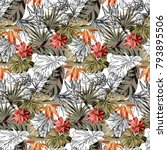 seamless pattern with tropical... | Shutterstock .eps vector #793895506