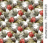 seamless white pattern with... | Shutterstock .eps vector #793895515