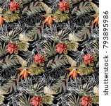 seamless black pattern with... | Shutterstock .eps vector #793895986