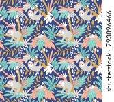 vector seamless tropical... | Shutterstock .eps vector #793896466