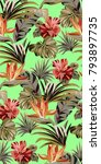 seamless green pattern with... | Shutterstock .eps vector #793897735