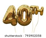 gold number 40 foil birthday... | Shutterstock . vector #793902058