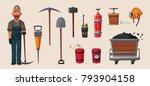 set of mining tools. worker's... | Shutterstock .eps vector #793904158