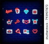 lettering  alarm  sale neon... | Shutterstock .eps vector #793907872