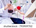patient getting blood...   Shutterstock . vector #793909702