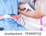 patient getting blood...   Shutterstock . vector #793909732
