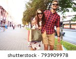 young happy couple with... | Shutterstock . vector #793909978
