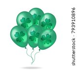 realistic green balloons with... | Shutterstock .eps vector #793910896