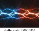 fire and ice plasma lightning... | Shutterstock . vector #793913356