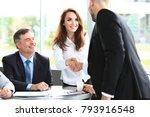 business people shaking hands ... | Shutterstock . vector #793916548