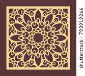 laser cutting panel. golden... | Shutterstock .eps vector #793919266