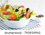 fresh greek salad made of... | Shutterstock . vector #793924942