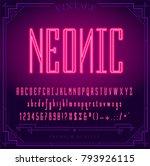 bright neon alphabet letters ...   Shutterstock .eps vector #793926115