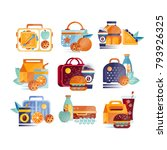 vector set of icons with lunch... | Shutterstock .eps vector #793926325