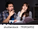 young parents sleepless with...   Shutterstock . vector #793926952
