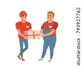 postal worker giving parcel to... | Shutterstock .eps vector #793927762