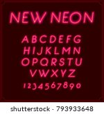 neon italic font type alphabet. ... | Shutterstock . vector #793933648