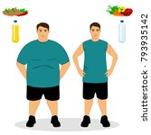 thin and fat. proper nutrition. ... | Shutterstock .eps vector #793935142