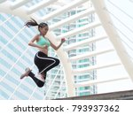 young asian woman jump and... | Shutterstock . vector #793937362
