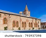 snowy street and old church...   Shutterstock . vector #793937398