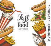 background with fast food hand... | Shutterstock .eps vector #793938142