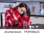 young ill woman with tissues... | Shutterstock . vector #793938622