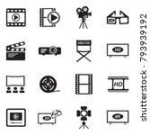 movie icons. black flat design. ... | Shutterstock .eps vector #793939192