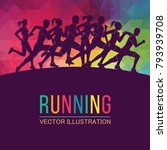running marathon  people run ... | Shutterstock .eps vector #793939708