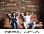 young happy couple relaxing on... | Shutterstock . vector #793940692