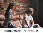 unhappy couple arguing  young... | Shutterstock . vector #793940845