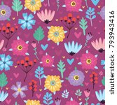 vector pattern with flowers and ...   Shutterstock .eps vector #793943416