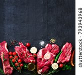 raw fresh meat steak with... | Shutterstock . vector #793943968