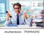 unhappy angry call center... | Shutterstock . vector #793944292