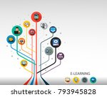 e learning flat icon concept.... | Shutterstock .eps vector #793945828