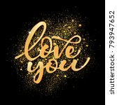 love gold hand drawn brush...   Shutterstock .eps vector #793947652